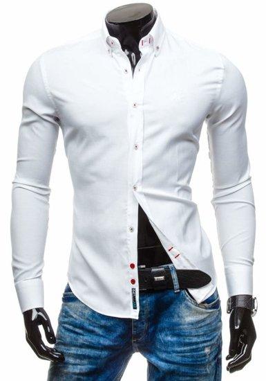 Koszula męska elegancka z długim rękawem biała Bolf 5803