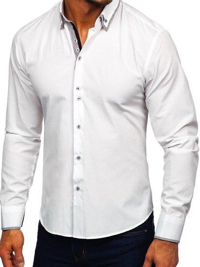 Koszula męska elegancka z długim rękawem biała Bolf 6929-A