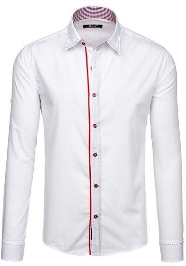 Koszula męska elegancka z długim rękawem biała Bolf 6932