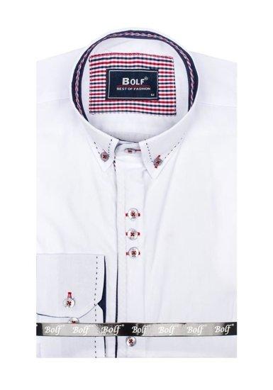 Koszula męska elegancka z długim rękawem biała Bolf 6948
