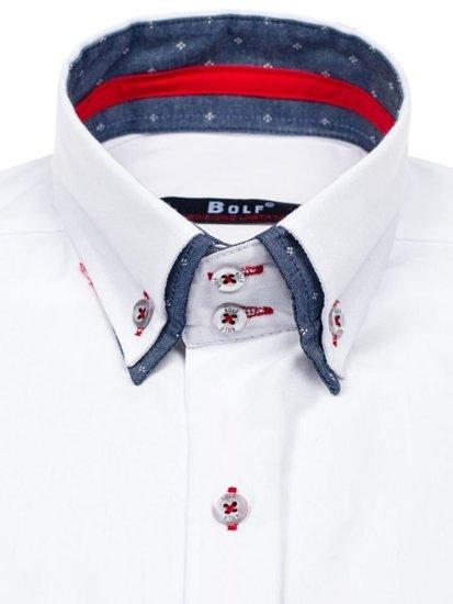 Koszula męska elegancka z długim rękawem biała Bolf 6965