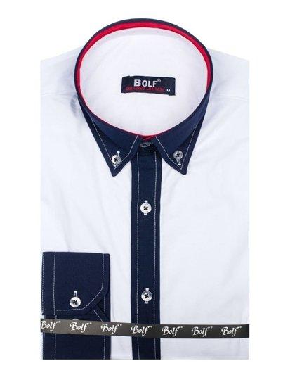 Koszula męska elegancka z długim rękawem biała Bolf 7701