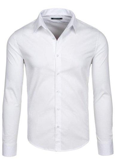 Koszula męska elegancka z długim rękawem biała Denley 142