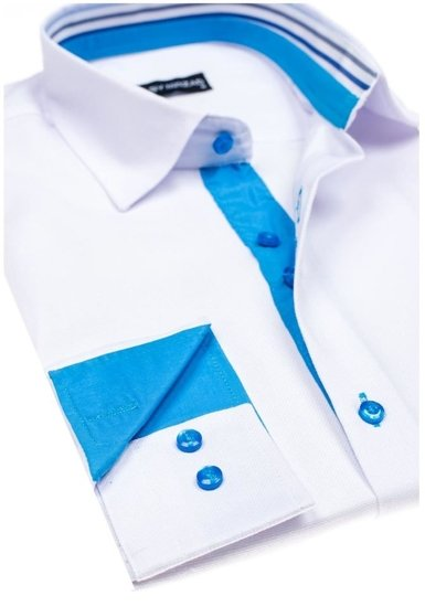 Koszula męska elegancka z długim rękawem biała Denley 6923