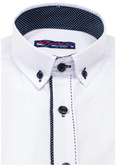 Koszula męska elegancka z długim rękawem biała Denley 784