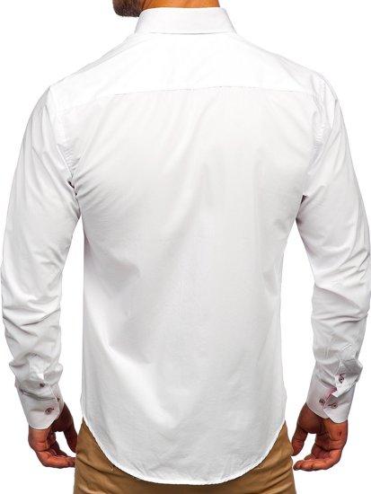 Koszula męska elegancka z długim rękawem biało-różowa Bolf 4744