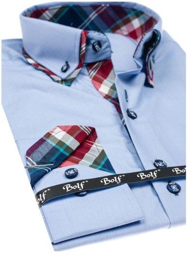 Koszula męska elegancka z długim rękawem błękitna Bolf 4704
