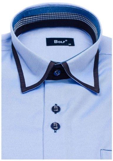 Koszula męska elegancka z długim rękawem błękitna Bolf 6902