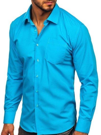 Koszula męska elegancka z długim rękawem błękitna Denley 0003  z6DOs