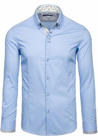Koszula męska elegancka z długim rękawem błękitna Denley 7180