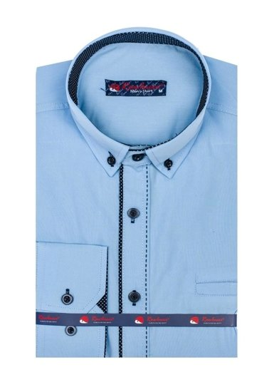 Koszula męska elegancka z długim rękawem błękitna Denley 784
