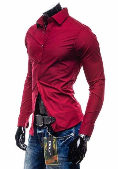Koszula męska elegancka z długim rękawem bordowa Bolf 4705