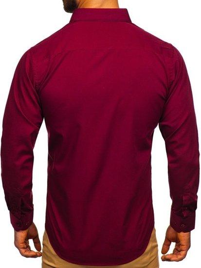 Koszula męska elegancka z długim rękawem bordowa Denley 0001