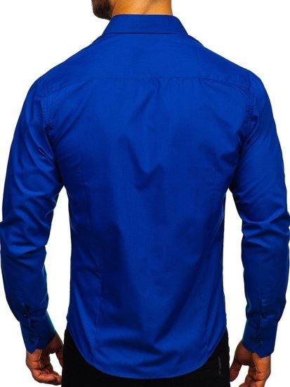 Koszula męska elegancka z długim rękawem chabrowa Bolf 1703
