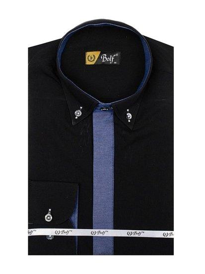 Koszula męska elegancka z długim rękawem czarna Bolf 3725