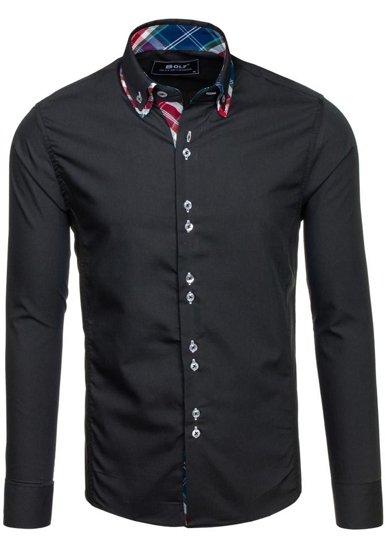 Koszula męska elegancka z długim rękawem czarna Bolf 4704