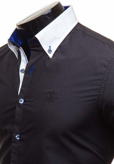 Koszula męska elegancka z długim rękawem czarna Bolf 5766