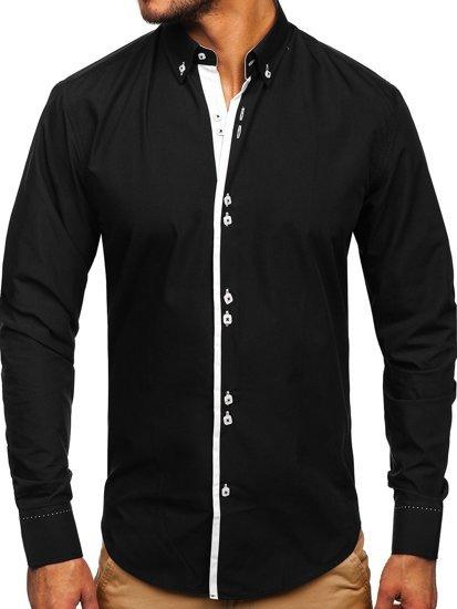 Koszula męska elegancka z długim rękawem czarna Bolf 5797