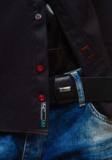 Koszula męska elegancka z długim rękawem czarna Bolf 5803