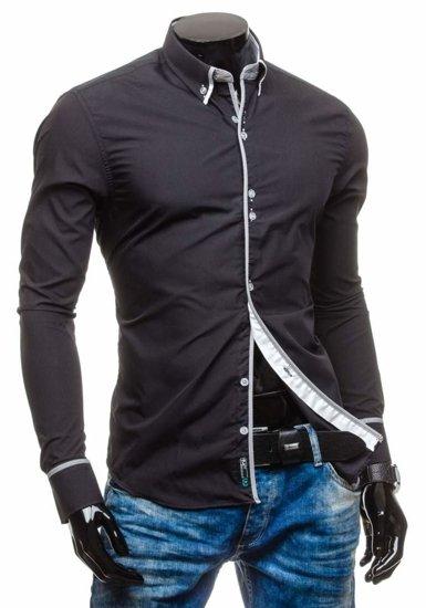Koszula męska elegancka z długim rękawem czarna Bolf 5811