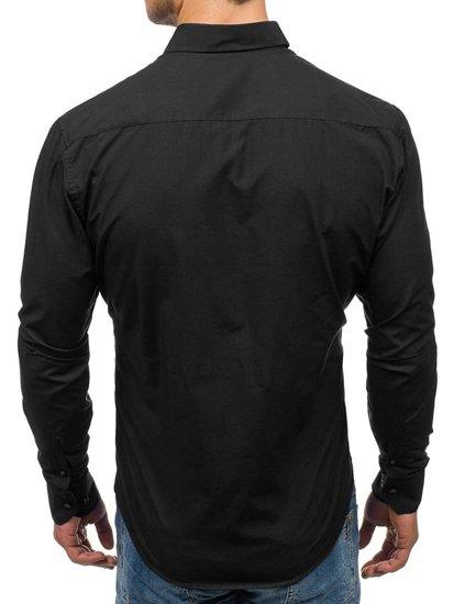 Koszula męska elegancka z długim rękawem czarna Bolf 5827