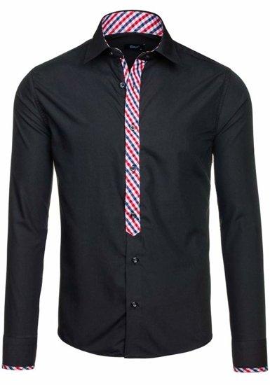 Koszula męska elegancka z długim rękawem czarna Bolf 6867