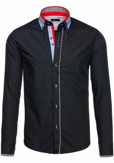 Koszula męska elegancka z długim rękawem czarna Bolf 6874