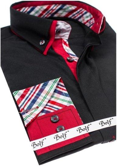 Koszula męska elegancka z długim rękawem czarna Bolf 6895