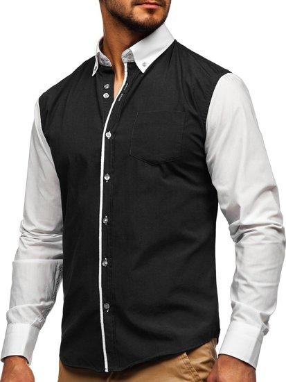 Koszula męska elegancka z długim rękawem czarna Bolf 6919