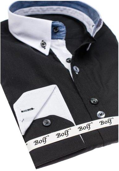 Koszula męska elegancka z długim rękawem czarna Bolf 6945