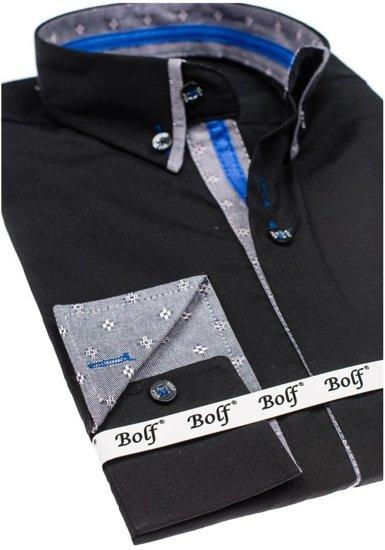 Koszula męska elegancka z długim rękawem czarna Bolf 6947