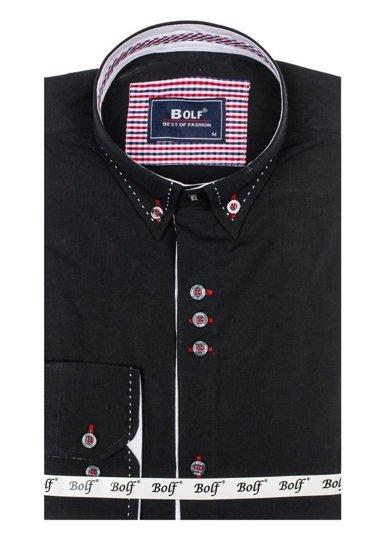 Koszula męska elegancka z długim rękawem czarna Bolf 6948