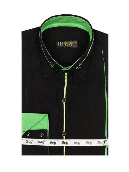 Koszula męska elegancka z długim rękawem czarno-zielona Bolf 2964