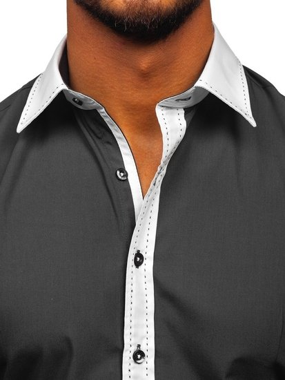 Koszula męska elegancka z długim rękawem grafitowa Bolf 6882