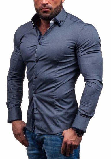 Koszula męska elegancka z długim rękawem grafitowa Denley 7188