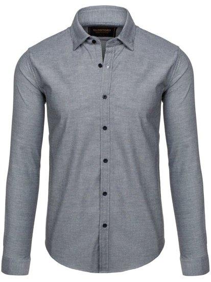 Koszula męska elegancka z długim rękawem grafitowa Denley 9666