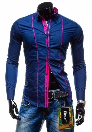 Koszula męska elegancka z długim rękawem granatowa Bolf 2964