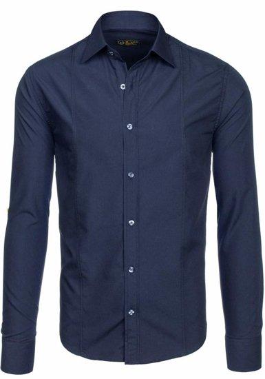 Koszula męska elegancka z długim rękawem granatowa Bolf 4705-G