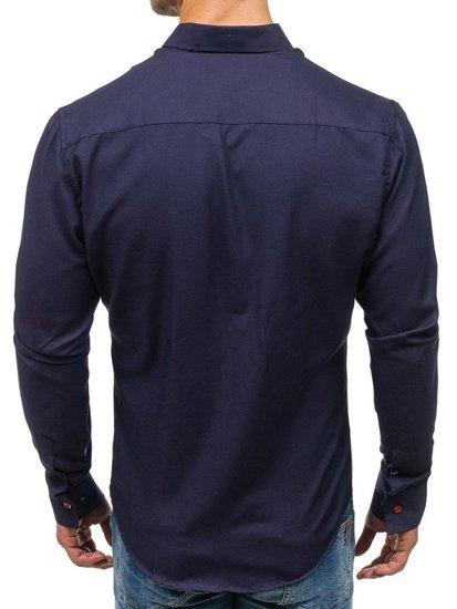 Koszula męska elegancka z długim rękawem granatowa Bolf 5803