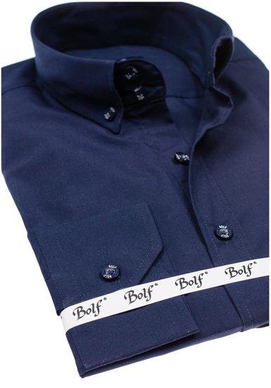 Koszula męska elegancka z długim rękawem granatowa Bolf 5821-1