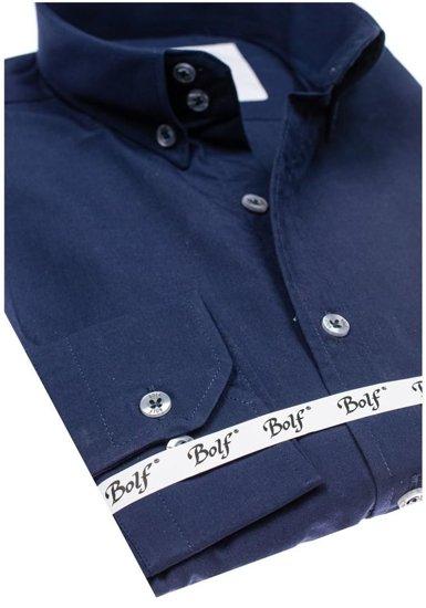 Koszula męska elegancka z długim rękawem granatowa Bolf 6934