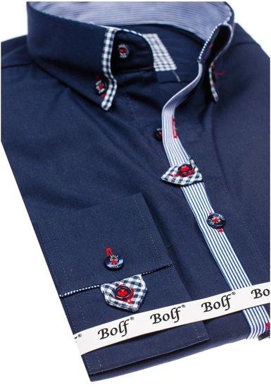 Koszula męska elegancka z długim rękawem granatowa Bolf 6949