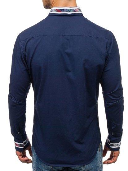 Koszula męska elegancka z długim rękawem granatowa Bolf 6961