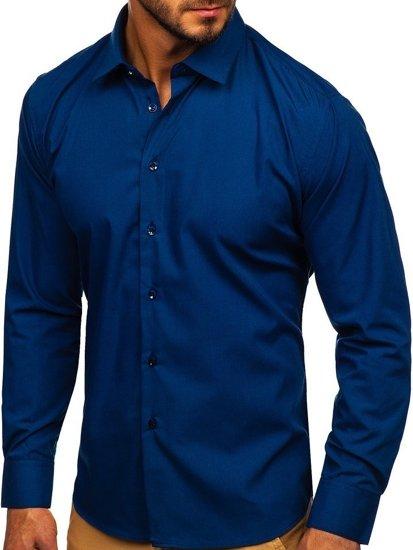 Koszula męska elegancka z długim rękawem granatowa Denley 0001