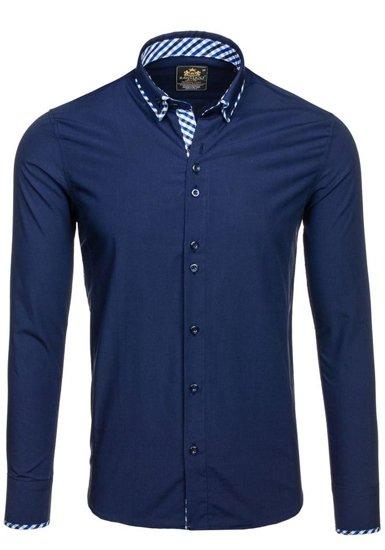 Koszula męska elegancka z długim rękawem granatowa Denley 776