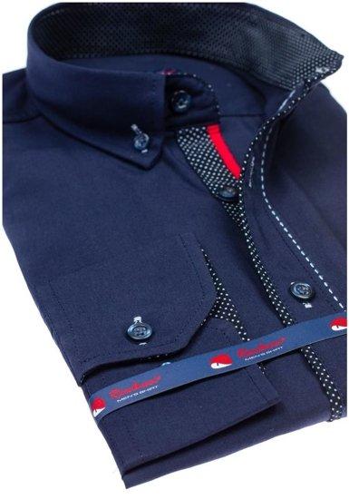 Koszula męska elegancka z długim rękawem granatowa Denley 784