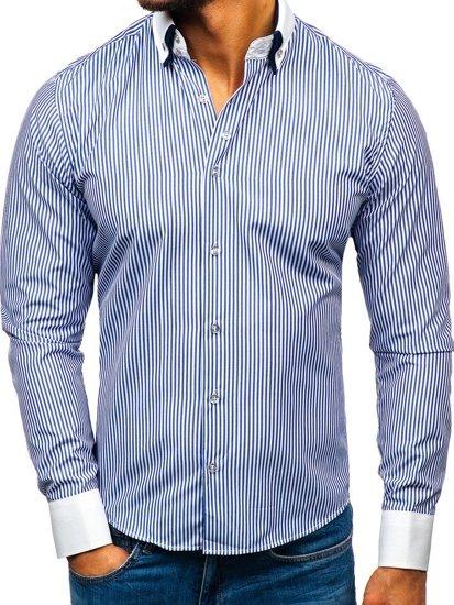 Koszula męska elegancka z długim rękawem niebieska Bolf 0909-A