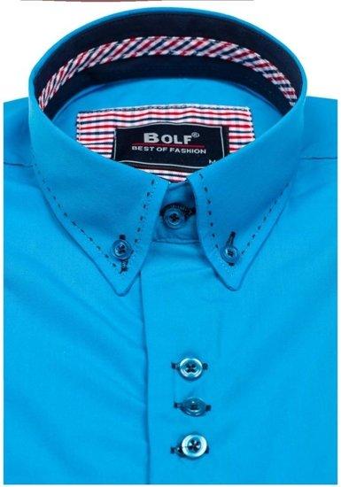 Koszula męska elegancka z długim rękawem niebieska Bolf 6948
