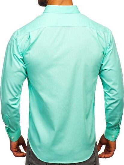 Koszula męska elegancka z długim rękawem zielona Denley 0003