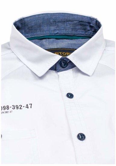 Koszula męska elegancka z krótkim rękawem biała Denley 1146